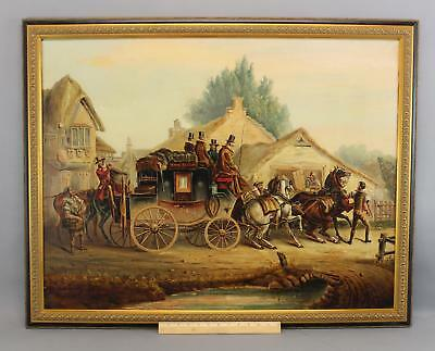 Antique English Coaching Oil Painting, Horse-Drawn Royal Mail Stagecoach