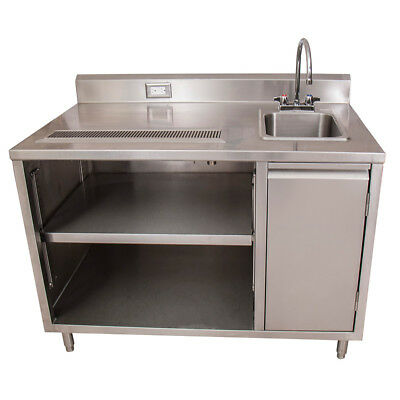 """BK Resources BEVT-3048R 48""""x30"""" Stainless Steel Beverage Table w/ Sink on Right"""