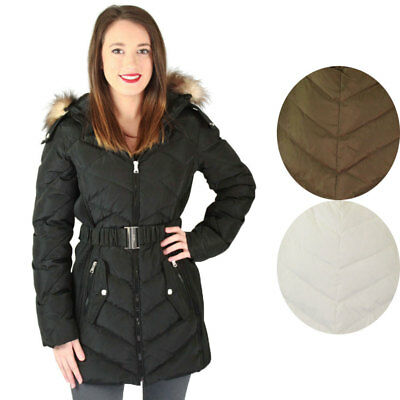 Jessica Simpson Quilted Down Women's Belted Long Hooded Parka Jacket Coat