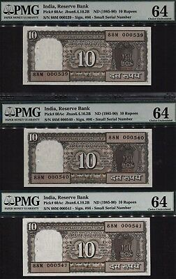 TT PK 60Ac 1985-90 INDIA 10 RUPEES 3 NOTES SEQUENTIAL S/N 539, 540 & 541 PMG 64!
