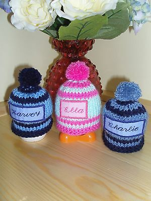 Hand Knitted  Name Of Your  Choice Egg Cosy, Ideal Novelty Christmas   Gift