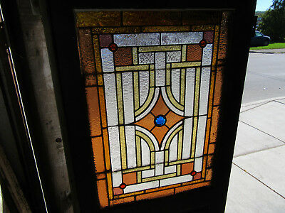 ~ ANTIQUE AMERICAN STAINED GLASS DOOR ~ 31 x 80 ~ ARCHITECTURAL SALVAGE ~