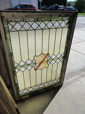 ANTIQUE AMERICAN STAINED GLASS LANDING WINDOW 32 x 44.5 ~ ARCHITECTURAL SALVAGE