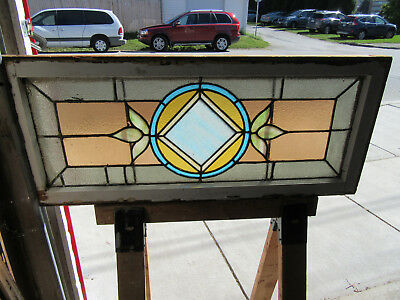 ~ ANTIQUE AMERICAN STAINED GLASS TRANSOM WINDOW 42 x 18 ~ ARCHITECTURAL SALVAGE