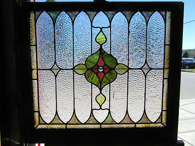 ~ ANTIQUE AMERICAN STAINED GLASS WINDOW ~ 32 x 28 ~ ARCHITECTURAL SALVAGE