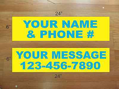 "10 6""x24"" Yellow Cyan Blue REAL ESTATE NAME RIDER SIGNS CUSTOM LOWEST PRICE NEW"