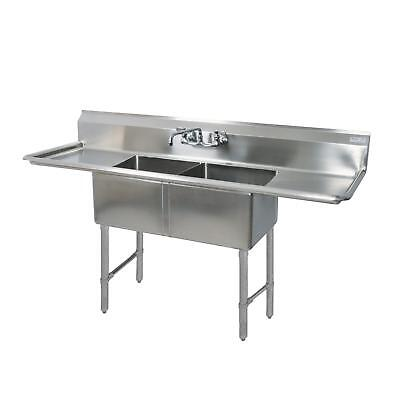"BK Resources 75""x25.5"" Two Compartment 16 Gauge Stainless Steel Sink"