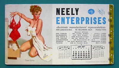 1957 INK BLOTTER AD - Neely Enterprises CA & Pin-Up Girl Bath Picking Negligee