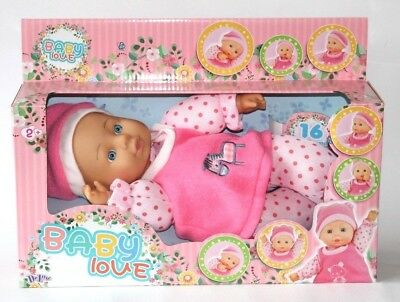 30cm Girls Toy Pink Baby Love Doll 16 Sounds Christmas Present Box From 2+ Years