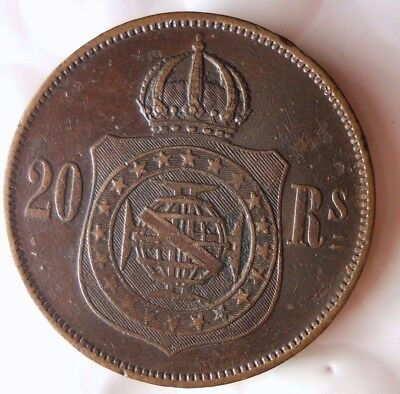 1870 BRAZIL 20 REIS - Rare Date - Big Value - Very Scarce Coin - Lot #110