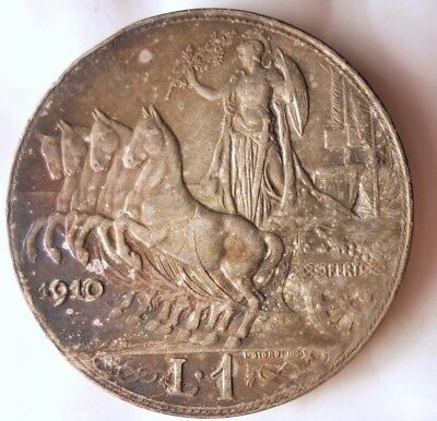 1910 ITALY LIRA - AU SILVER - Great Collectible Coin - Lot #110