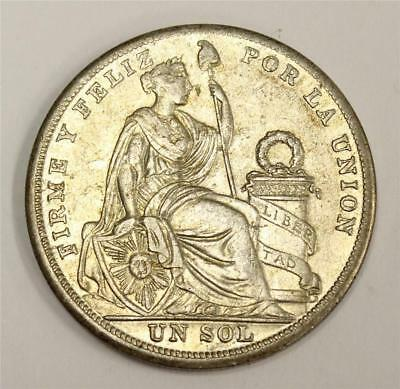 1926 Peru One Sol large silver coin EF45