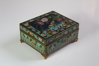 Antique c. 1900 Japanese Cloisonne Cranes in Water, Flowers & Engraved Birds Box
