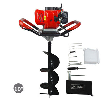 1.8KW Earth Auger/ Hole Digger Gasoline 52cc One-man with 10 inch Auger Bits Set