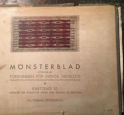Vtg 1970 Monsterblad Kartong Svensk Hemslojd Swedish Color Rya Rugs Pattern -D
