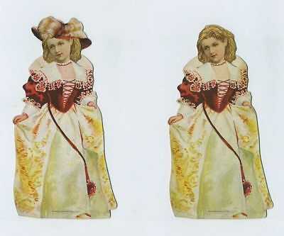 (2) 1800s Die Cut Stand Up Doll Advertising Trade Cards McLaughlin Coffee bv1871