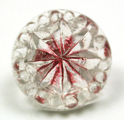 """Antique Radiant Glass Button Flower Mold w/ Red Color  - 9/16"""""""