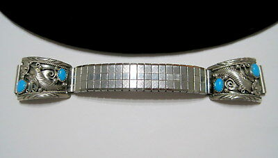 EXQUISITELY DETAILED Vtg OLD PAWN SW Native TURQUOISE & STERLING WATCH TIPS