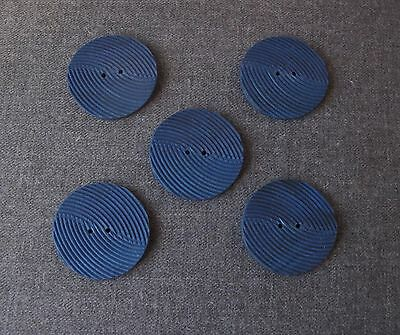 5 Vintage Nice Design Striped Blue Galalith Buttons Unused