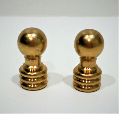 "Pair Genuine Unfinished Brass ""Ball"" Lamp Shade Finials-New!"