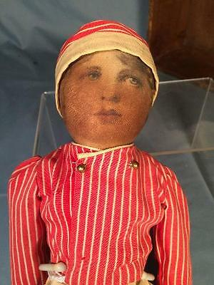 """Antique 14"""" Babyland Rag Doll Boy with Life Like Face Early 1900s"""