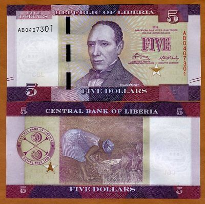 Liberia, 5 dollars 2016 (2017), P-New, UNC > Redesigned