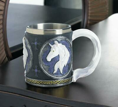 medieval mug stainless steel cup royal white UNICORN horse drinking glass statue
