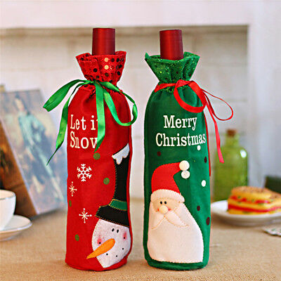 Red Wine Bottle Cover Bags Snowman/Santa Claus Christmas Decoration Sequins Lot
