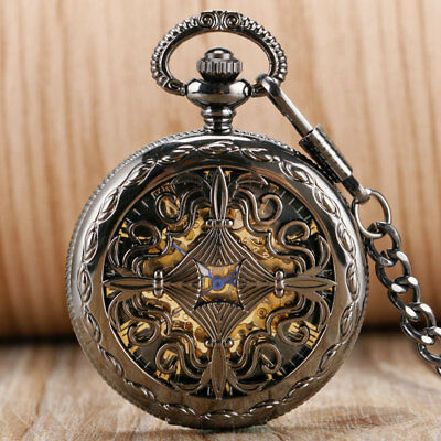 Hollow Grilles Self Winding Mechanical Pocket Watch Chain Roman Numerals Dial
