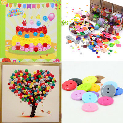 100Pcs LOTS DIY Mixed Round Resin Buttons Candy Color Sewing Craft 9-25mm