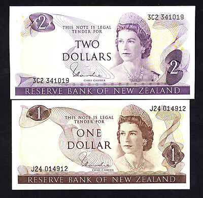 New Zealand NZ Hardie Type I $1 AU & $2 UNC - 2 QEII Notes
