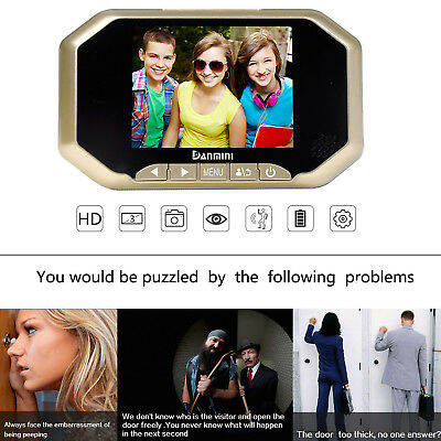 "3.5""Visual Monitor Door Peephole 160°Peep Hole Wireless Viewer Camera Video Gold"