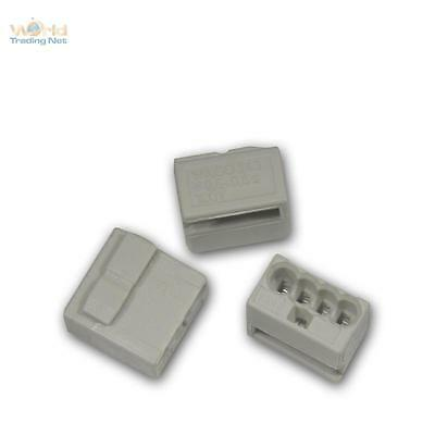 100 Piece Wago Micro Connectors 4 x 0,6 -0, 8 mm ² - Grey Terminal Clamp