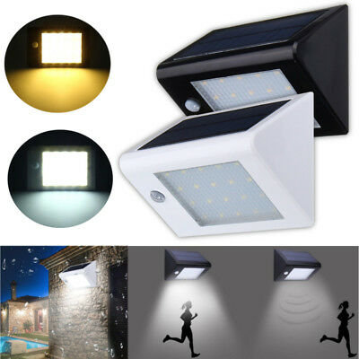 Solar Powered PIR Motion Sensor LED Wall Light Outdoor Garden Waterproof Lamp