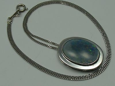 Very Nice Old Opal Pendant with Chain from 14 Carat 585 White Gold