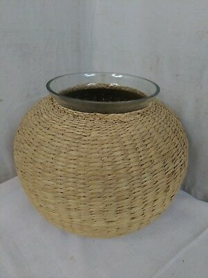 Ancien grand POT Verre OSIER XXe Wicker Glass Pot 20e Decoration Interieure T