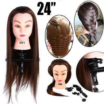 """24"""" 30% Human Hair Hairdressing Training Head Mannequin Doll Head + Clamp Great"""
