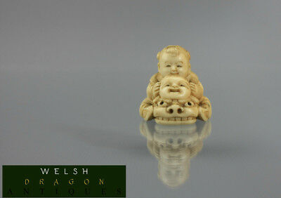 Museum High Quality Bovine Bone Japanese Netsuke Boy With Dragon And Mask Signed