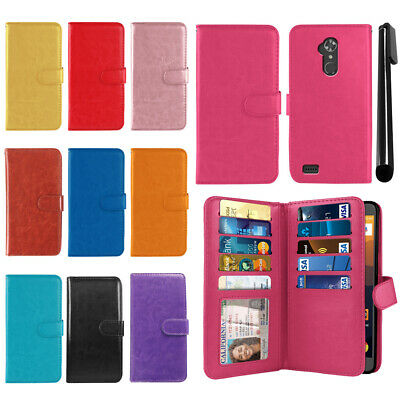 For ZTE Max XL N9560 Flip Card PU Leather Wallet Cover Case Wrist Strap + Pen
