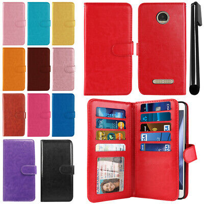 For Motorola Moto Z Play Droid XT1635 PU Leather Wallet Cover Case Strap + Pen