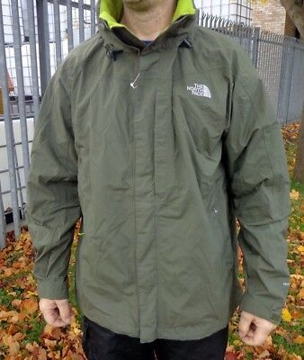 Mens The North Face Khaki Waterproof Lightweight Hiking Outdoor Jacket Size Xl