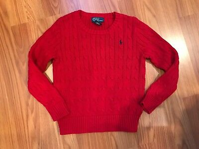 Polo by Ralph Lauren Boy's Red Cable Knit Sweater Sz 6