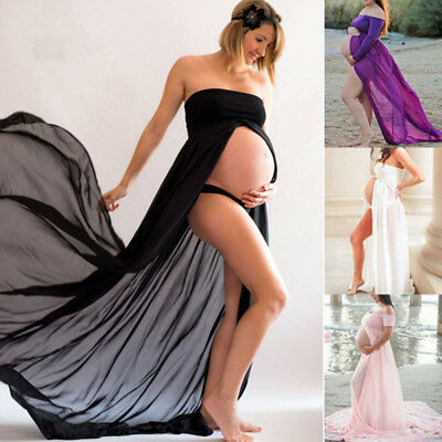 New Pregnant Women Chiffon Maxi Dress Maternity Gown  Photography Props Dress