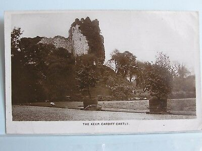 R/P POSTCARD - CARDIFF CASTLE KEEP - GLAMORGAN WALES UK - c.1925