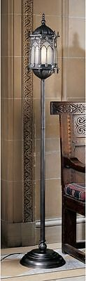 """Medieval 68.5"""" Filigree Frosted Glass Gothic Sculptural Lantern Floor Lamp NEW"""