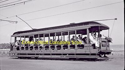 Connecticut Company Original B&w Trolley Negative Car 840 In West Haven In 1938