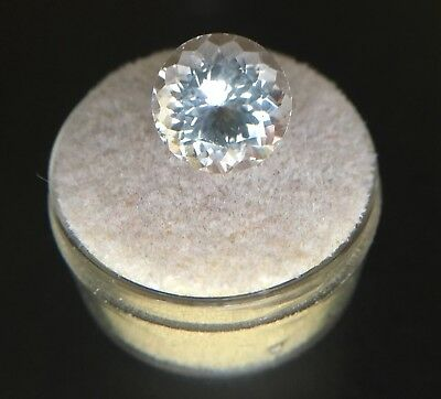 Big NATURAL 5.10ct Morganite Light Peach Pink Beryl Round Diamond Cut Rare Gem