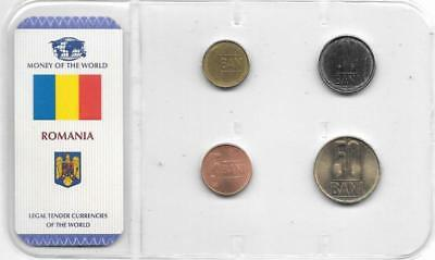 Romania Money of the World Sealed Coin Set (4) Brilliant Uncirculated