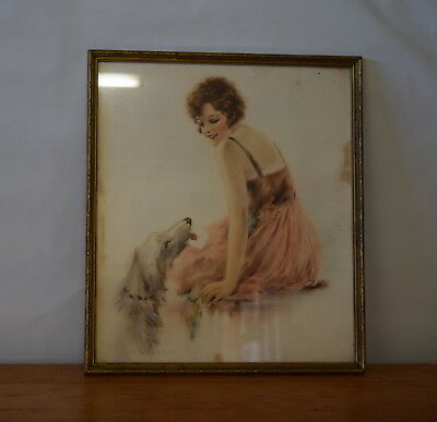 Vintage Picture/Painting? of Girl & Dog 20s Flapper, Collie/Wolfhound Gilt Frame