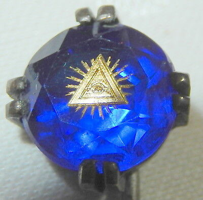 Stunning Masonic Antique Blue & Gilt Jewel Stick Pin + Fitted Case Victorian